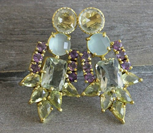Multi Gemstone Gold Plated 925 Sterling Silver Statement Chandelier Post Earrings 1 by Sophia Rose Jewellery