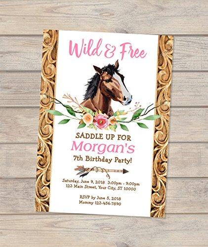 Amazon Com Horse Birthday Invitation Boho Horse Birthday