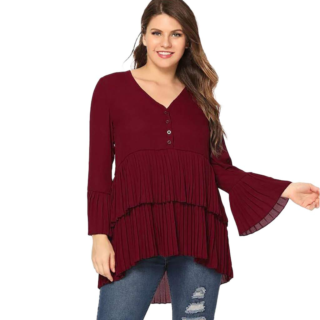 PSFS Womens Plus Size V-Neck Long Sleeve Button Dress,Casual Loose Flare Sleeve Double Hem Pleated Skirt XL-5XL (XXL, Red)