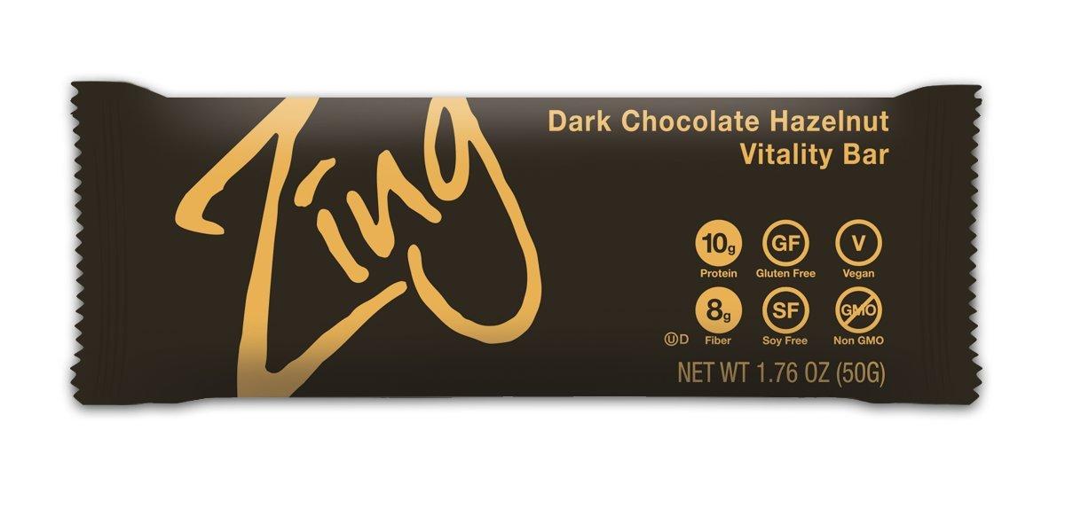 Zing Nutrition Bar, Dark Chocolate Hazelnut, (Pack of 12), Non-GMO Snack Bar for Optimum Energy, Gluten & Soy Free, Plant-Based Protein