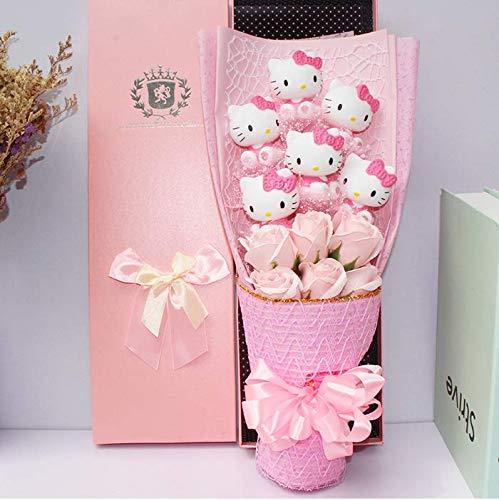 GuGuDas 48cm (18.9 inch) - Cartoon Flowers Bouquet Hello Kitty Stuffed Animal Plush Cats -