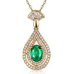Yellow Gold Natural Colombia Emerald Diamond Pendant
