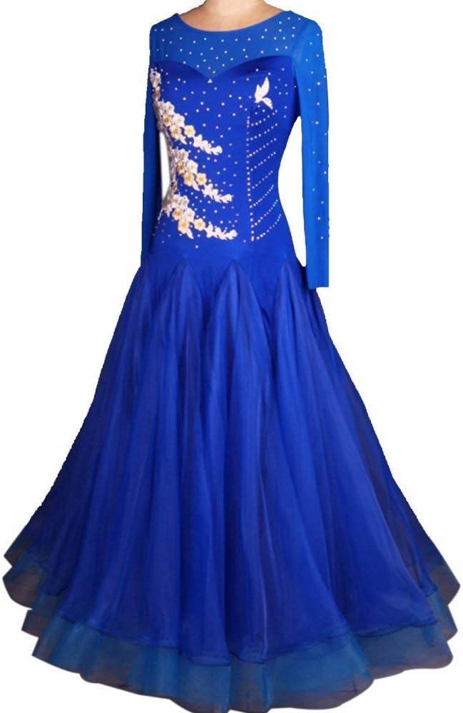 LYABANG Danza Moderna para Mujeres Vestidos De Competencia De Baile De Salón Estándar Disfraces De Baile De Diamantes De Imitación Falda De Expansión Vestidos De Vals De Tango,Blue-M