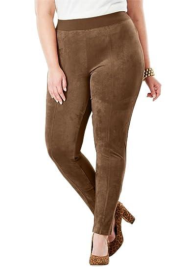 20ab0b871e5 Jessica London Women s Plus Size Faux Suede   Ponte Knit Pants at Amazon  Women s Clothing store