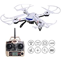 ANNONGONE JJRC H12CH RC Quadcopter Video Photography Quadcotper High Hold HD Camera 6 Axis Gyro Headless Mode Auto Return Function Protection Frame 2.4GHz Remote Control Drone White
