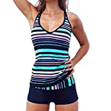 Eternatastic Women's Stripes Tankini Swimwear With Boxer Two Pieces Swimsuit Set