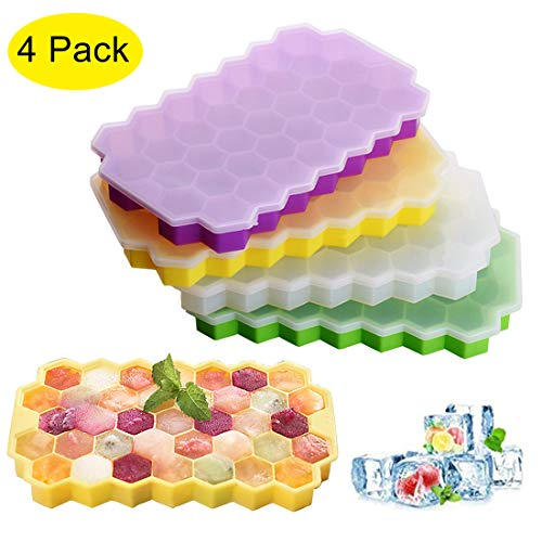 YIANO Ice Cube Trays 4 Pack Silicone Flexible BPA Free Reusable Ice Cube Molds with lids for Chilled Drinks, Whiskey & Cocktails