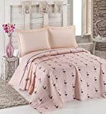 LaModaHome Luxury Soft Colored Full and Double Bedroom Bedding 100% Cotton Coverlet (Pique) Thin Coverlet Summer/Flamingo Line Rope Bowtie Animal Pink Background /