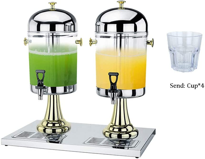with Stainless Steel Tap and Base Suitable for Summer Parties Aprilhp Double Head Water Beverage Dispenser Clear