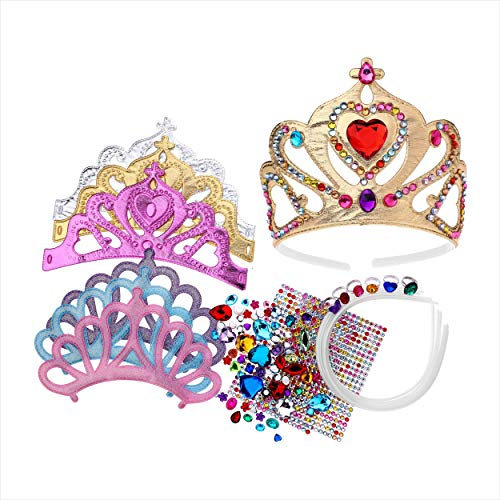 (Foam Princess Tiaras and Crowns, Making Your Own Tiaras with Rhinestone stickers, Princess Party Favors for Kids (pack of 6))
