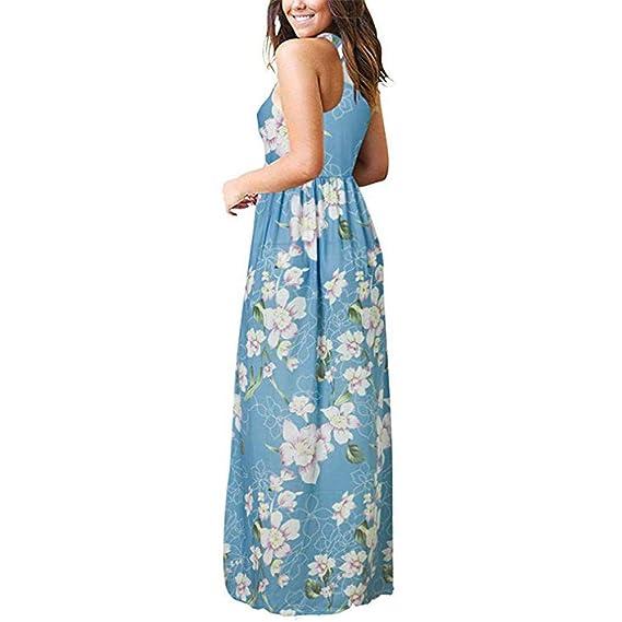 Vestido Largo sin Mangas con Estampado Floral Informal de ...