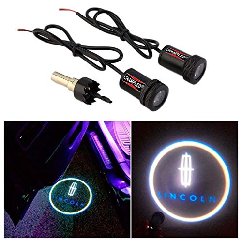 CHAMPLED® For LINCOLN Laser Projector Logo Illuminated Emblem Under Door Step courtesy Light Lighting symbol sign badge LED Glow Car Auto Performance Tuning Accessory