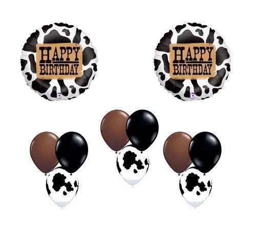 (Holstein Cow Happy Birthday Western Farm Country Balloon Party Set Mylar Latex)