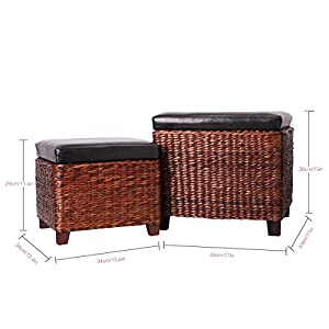 Eshow Ottoman Rattan Ottoman with Storage Hassocks and Ottomans Foot Rest Pouf Ottoman Foot Stools Cube Decoration Furniture Leather Ottoman Seating Storage Bench Ottoman with Tray Small 2-Piece,Brown