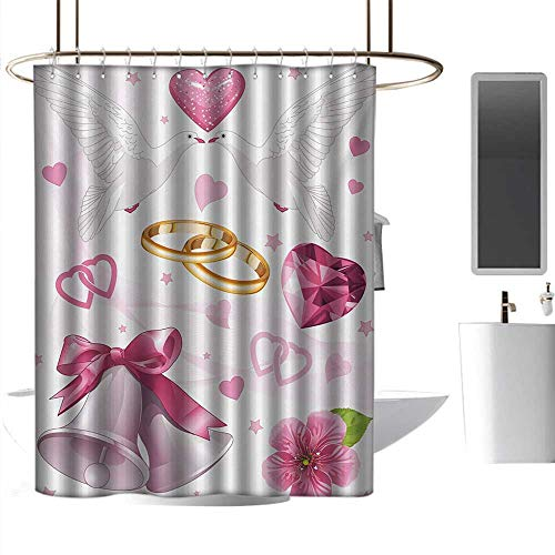 Shower Curtains Elegant Wedding,Wedding Themed Artwork Invitation Announcement Hearts Rings Birds Happiness,Pink White Orange,W48 x L72,Shower Curtain for Shower stall ()