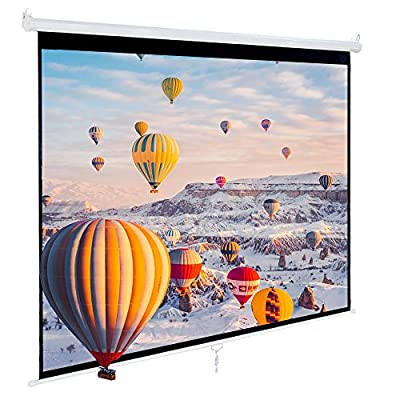 "Cloud Mountain Manual Pull Down 120"" 4:3 HD Projector Screen w/ Auto Lock Home Theater Office Wall Projection 1.3 Gain Matte White"