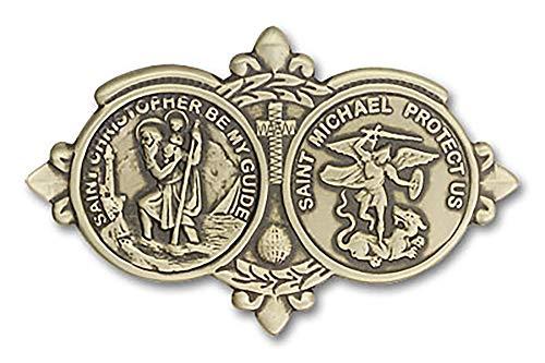 VILLAGE GIFT IMPORTERS Antique Brass Visor Clip | ST. Christopher/ST Michael