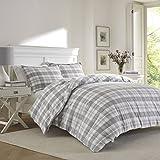 Laura Ashley Mulholland Plaid Flannel Comforter Set, King, Medium Gray