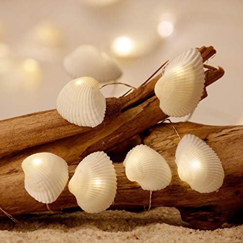Impress Life Nature Seashell Nautical Decorative Scallops String Lights, USB Cord & Battery Powered with Multi-Function Remote by 10 ft 20 LEDs for Ocean Mermaid Summer Wedding Bedroom Home Parties
