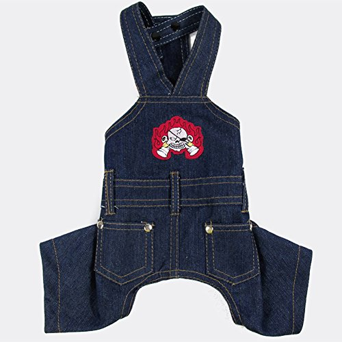 [Fenarzo Jeans Overalls for Small Dogs (M, A-Dark Blue)] (Duck Costumes For Dog)