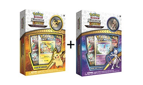 Pokemon TCG: Shining Legends Mewtwo & Pikachu Pin Collectible Card Boxes