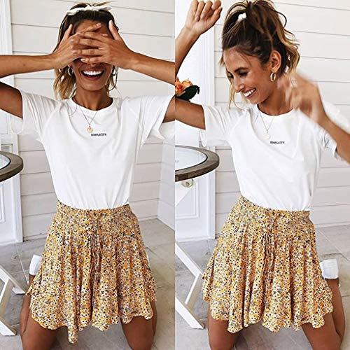 TWGONE Ruffled Mini Skirt For Women Summer Bohe High Waist Floral Print Beach Short Skirt (Small,Gold) by TWGONE (Image #4)