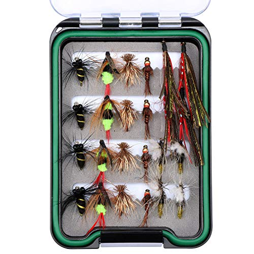Goture Fly Fishing Flies Kit - Handmade Dry Wet Fly Fishing Lure with Waterproof Fly Box Includes Bee Bird Nymphs Streamer 16 & 24 Pieces - Ideal for Bass Trout Panfish (Best Bluegill Fly Patterns)