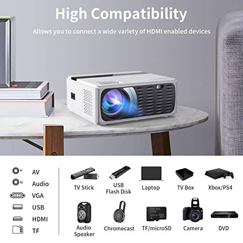 Portable Movie Projector, SAMMIX 5000 Lux 1080P HD Video Projector Supported 200