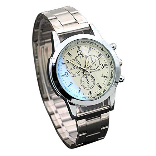 Price comparison product image Gloous Mens Fashion Watch,  Stainless Steel Sport Quartz Analog Wrist Watch (White)