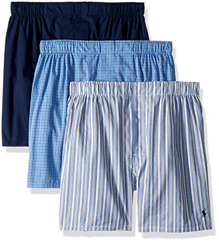 Polo Ralph Lauren Men's Classic Fit 3 Packaged Woven Boxers Rimini Stripe/Muller Plaid/Cruise Navy Medium (Ralph Boxers Lauren Polo)