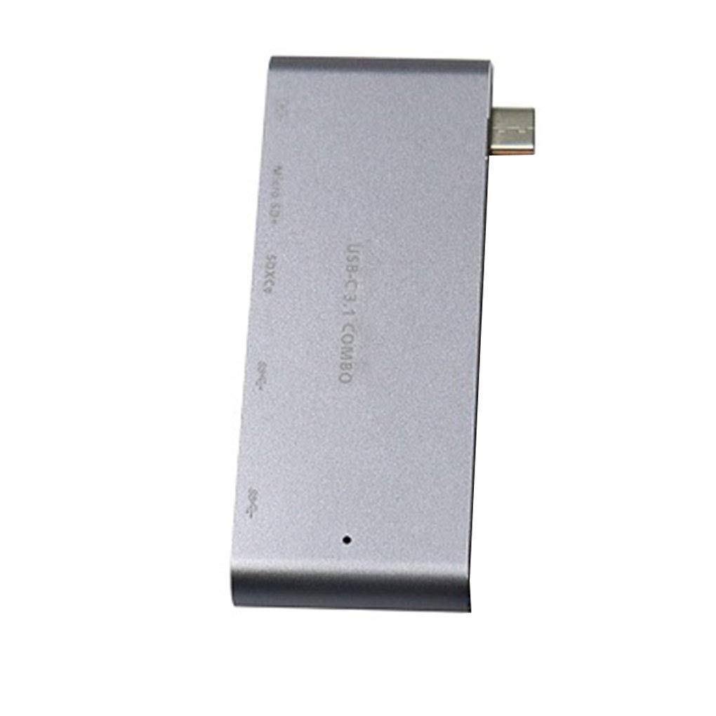 1.2cm 3.1 EgalBest Type-c USB3.0 Hub HD Video Adapter SD Micro SD Memory Card Reader Aluminum Alloy 4K USB-C Converter Grey 9.3