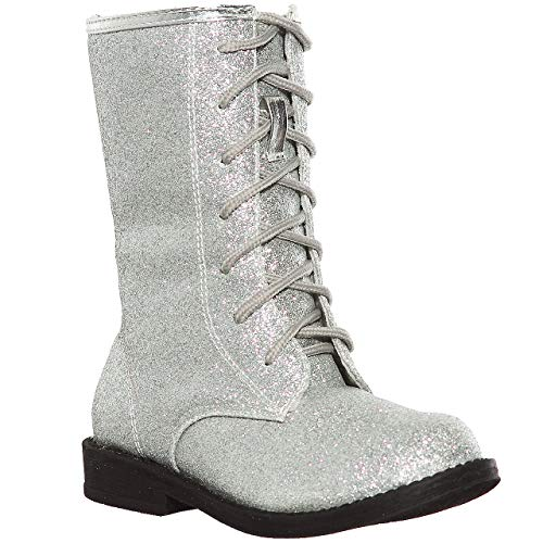 shoewhatever Glitter Lace up Combat Boots for Girls (9, Pewter) -