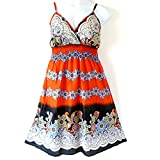 She's Cool 81710 - Plus Size Padded Cotton Beach Sun Summer Dress (1X, Orange)