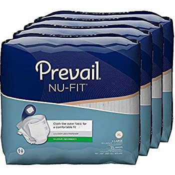 Prevail Nu-FIT Maximum Absorbency Incontinence Briefs, Extra Large, 60 Count
