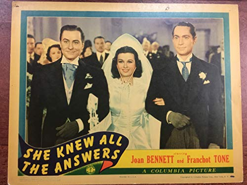 SHE KNEW ALL THE ANSWERS (1941) original lobby card (measures 11