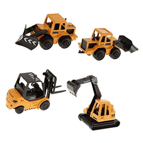 Homyl 4pcs Juguete de Camiones de Construcciones Montacargas Pala de Tractor Excavadora Guitanieves Regalo para Niños