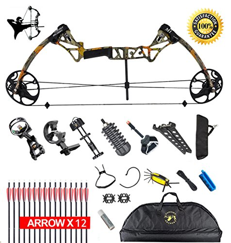 """XQMART XGeek Compound Bow Package,M1,19""""-30"""" Draw Length,19-70Lbs Draw Weight,320fps (Black2) (black1) (black) (Forest)"""