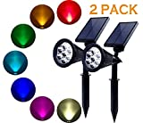 Solar Lights Outdoor - 2 Pack 7 LED Solar Spotlight Bright & Dark Sensing Auto On Off Solar Garden Light for the Yard Patio Stair Pool - Waterproof Security (Changing Color)