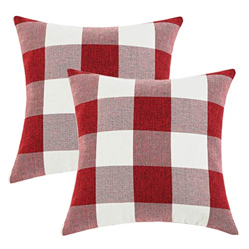 Sunday Praise Set of 2 Solid Retro Checkers Plaids Decorative Square Throw Pillow Covers Home Decor Soft Cotton-Linen Cushion Covers for Sofa Bedroom Car 18x18 Inch 45x45 cm Red