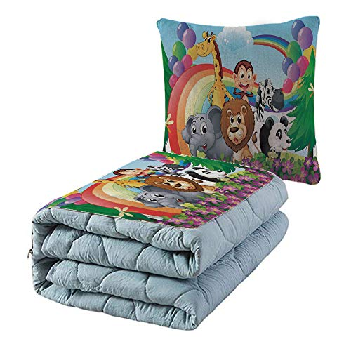 iPrint Cotton Linen Throw Pillow,Quilt Dual-Use Pillow,Nursery,Group of Animals at The Hilltop with a Rainbow and Balloons Fresh Garden Happy,Multicolor,for Adults Childs and Home Deco from iPrint