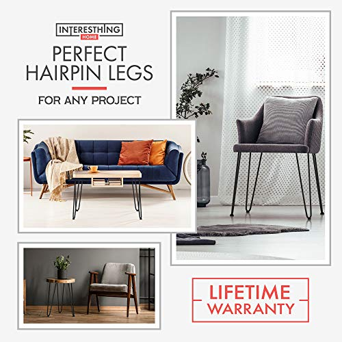 Heavy Duty Metal Coffee Table Legs with Screws and Hairpin Leg Protector Included - 4 Piece Set - Pre-Drilled Holes for Easy Installation - Add Mid Century Modern Flair to Your Home (20'') by INTERESTHING home (Image #1)