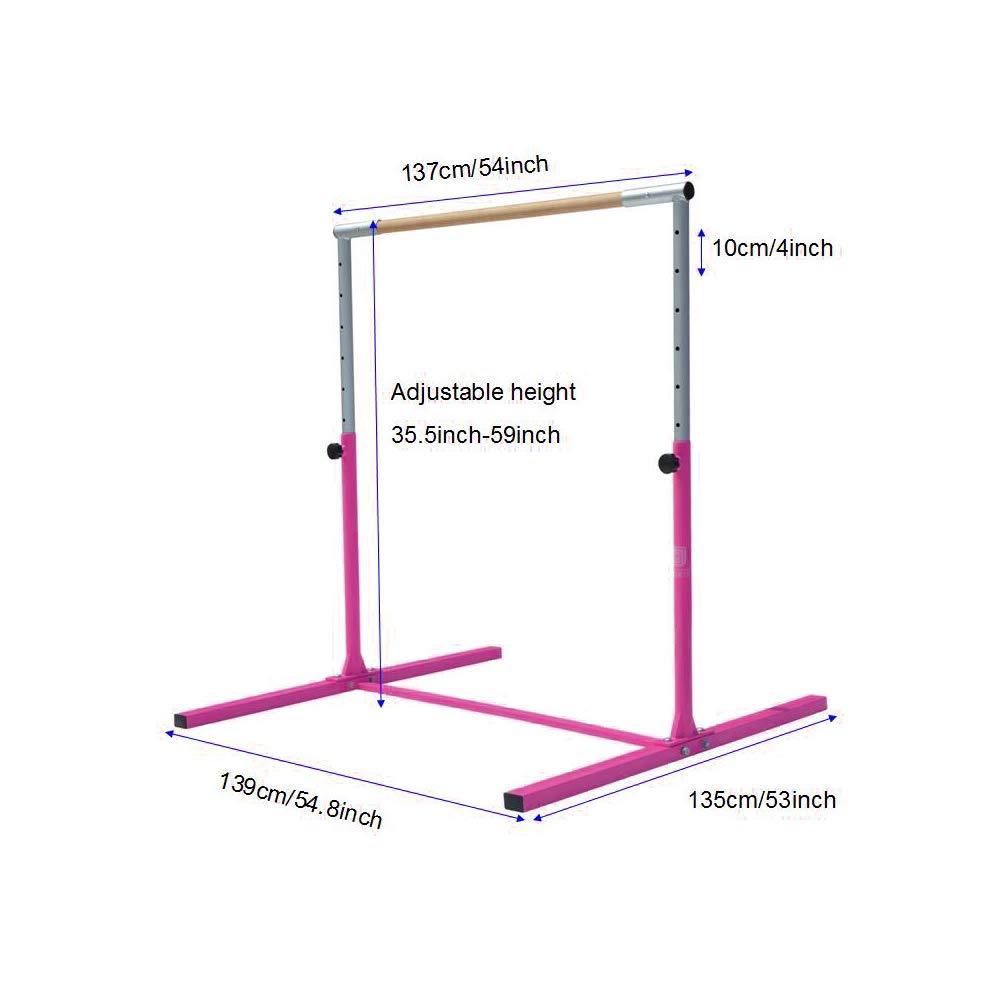 Modern-Depo Junior PRO Gymnastics Kip Bar | Adjustable (3'- 5') Training Horizontal Bar Beech Wood - Pink by Modern-Depo (Image #4)