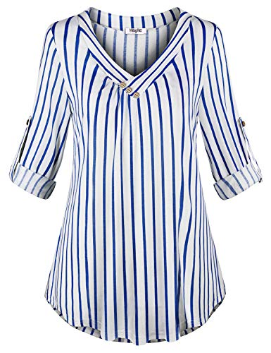Hibelle Tunic Tops for Women 3/4 Sleeve, Ladies Fashion Blue and White Striped Shirt V Neck Blouses Winter Loose Long Sleeved Womens Business Casual Clothing Pinstripe L