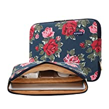 kayond lady's Favorite Peony Canvas Fabric Water-resistant 11-15 Inch laptop Sleeve Case Bag For Notebook Computer / MacBook / Macbook Air/MacBook Pro (13-13.3 inches, Blue Peony)