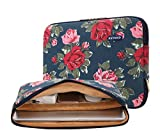 kayond Canvas Water-resistant Sleeve Case for 11-11.6 Inch Laptop,Macbook air 12, Ultrabook Netbook Tablet (Blue Peony)