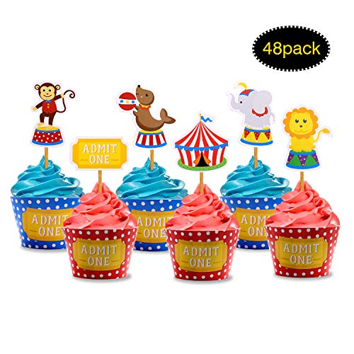 Circus Animals Cupcake Toppers and Wrappers for Kids Carnival Theme Birthday Party, Zoo Circus Animals Party Decorations, Baby Shower Party Supplies, 48 -