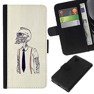 LECELL--Cuero de la tarjeta la carpeta del tirón Smartphone Slots Protección Holder For LG Nexus 5 D820 D821 -- Hipster Bearded Esqueleto --