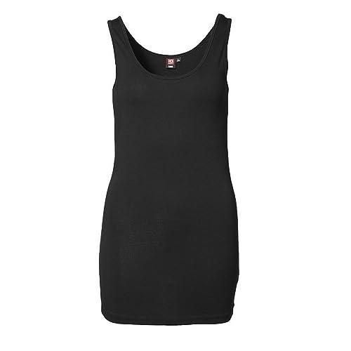ID - Camiseta de tirantes elástica extra larga con corte ajustado para mujer