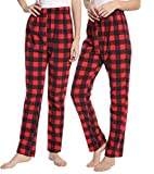 #10: AMONIDA Women's Stretch Plaid Flannel Lounge Pants Thick Bottoms for Sleep