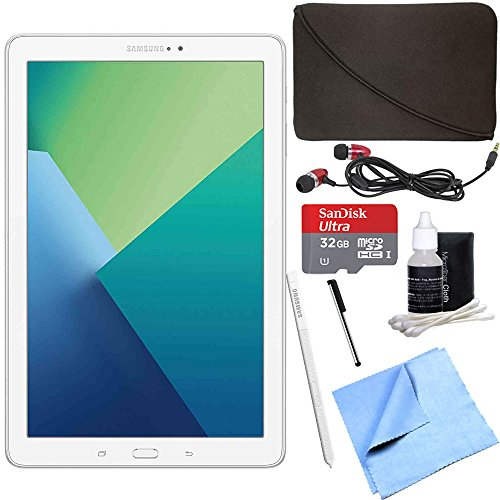 Samsung Galaxy Tab A 10.1 Tablet PC White w/ S Pen 32GB Bundle includes Tablet, 32GB MicroSD Card, Microfiber Cloth, Cleaning Kit, Stylus Pen with Clip, Protective Neoprene Sleeve and Metal Ear Buds by Beach Camera